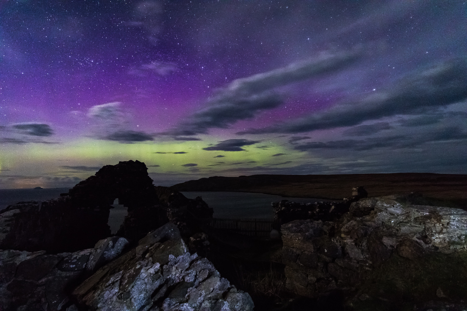 Aurora Duntulm Castle Skye Northern Lights