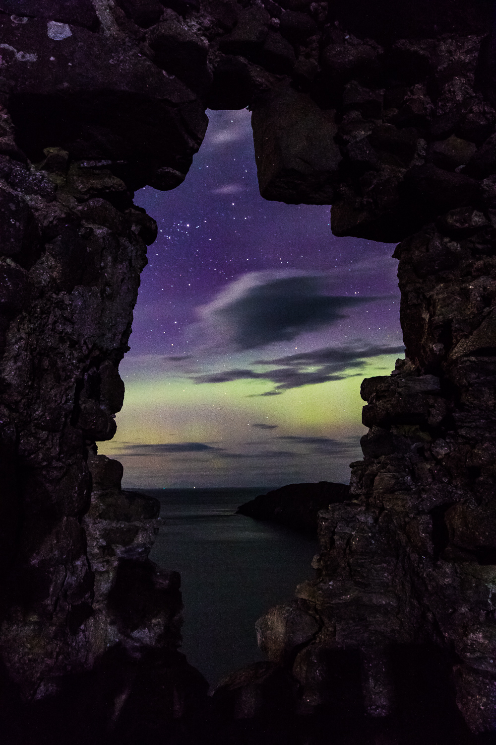 Aurora Duntulm Castle Skye Window