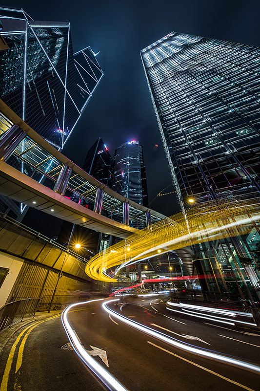 Traffic trails Hong Kong Photography